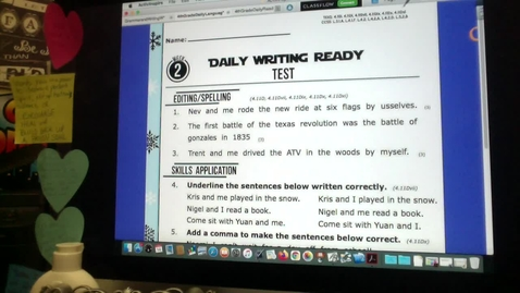 Thumbnail for entry Daily WRITING READY Test Jan. 14