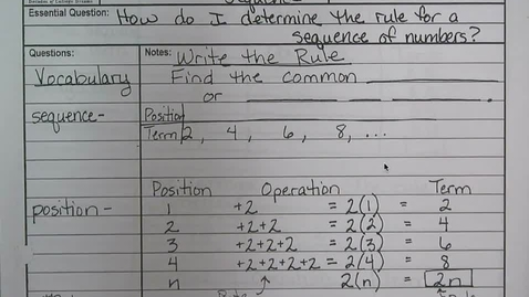 Thumbnail for entry Sequences - Algebraic Reasoning - Writing the Rule
