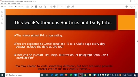 Thumbnail for entry Journaling Ideas Week 1 Grades 7-8