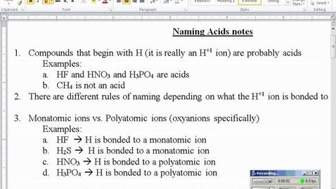 Thumbnail for entry Stephens Chemistry: Naming Acids