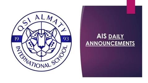 Thumbnail for entry QSI AIS Monday, June 1 announcements
