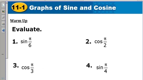 Thumbnail for entry 11.1 graphing sine and cosine