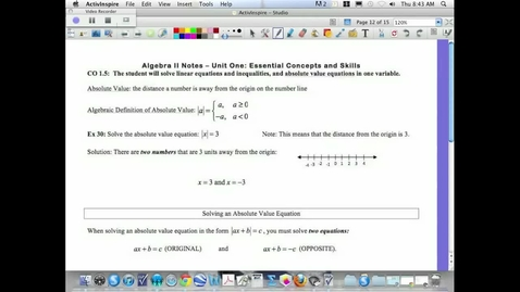 Thumbnail for entry 1.5 Basics of Absolute Value Equations