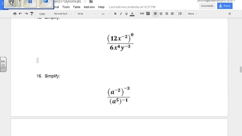 Thumbnail for entry SOL Review Polynomials Question 15 Properties of Exponents