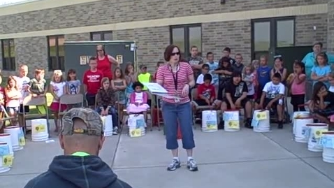Thumbnail for entry 9:00 a.m. performance (part 1) of Bucket Drumming - Rock Ledge Summer School 2015