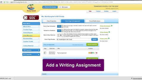 Thumbnail for entry Study Island -- Create a Writing Assignment