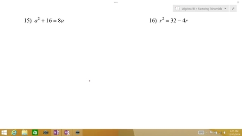 Thumbnail for entry Algebra 1B Lesson 09 #15-16