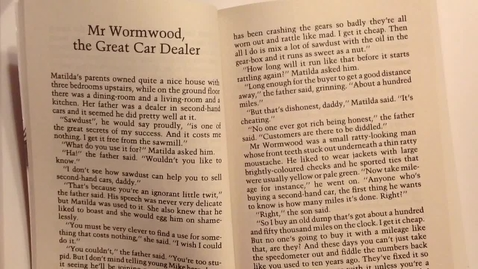 Thumbnail for entry Matilda, Ch. 2:  Mr. Woodworm, the Great Car Dealer