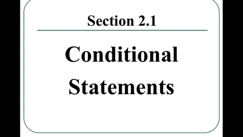 Thumbnail for entry 2.1 Conditional Statements