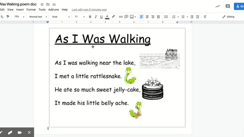 Thumbnail for entry As I Was Walking poem doc - Google Docs