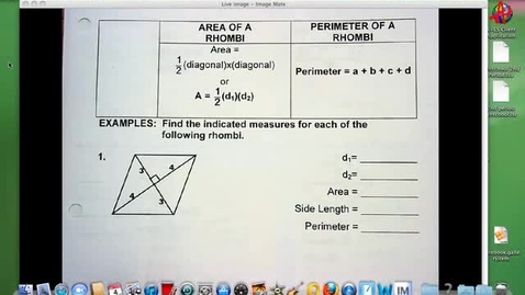 Thumbnail for entry Area and Perimeter of Rhombi A 9-4