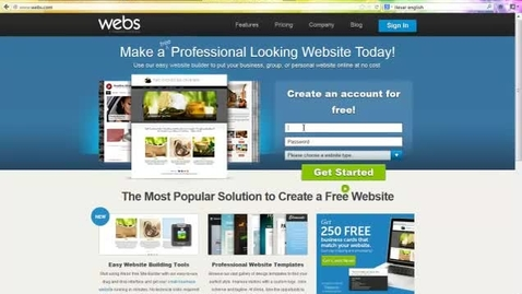 Thumbnail for entry Signing up for webs.com