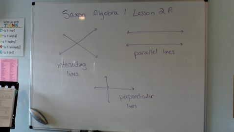 Thumbnail for entry Saxon Algebra 1 Lesson 2A