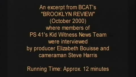"Thumbnail for entry (2000) NEWS REPORT - KWN on BCAT's ""BROOKLYN REVIEW"""