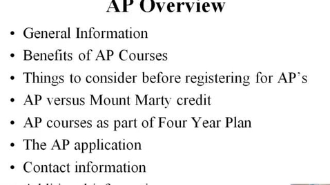 Thumbnail for entry AP Overview