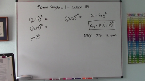 Thumbnail for entry Saxon Algebra 1 - Lesson 114 - Exponential Key - Exponential Growth - Graphing Exponential Functions