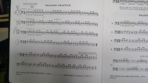 Thumbnail for entry Drums:  Week 1: p.10, Lesson 4, #1 - Playing