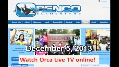 Thumbnail for entry Orca Live December 5, 2013