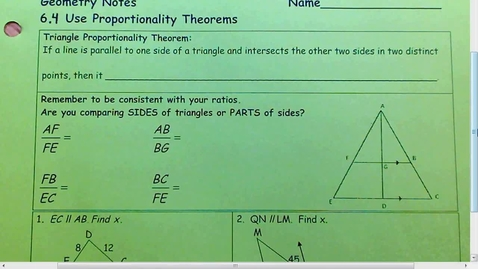 Thumbnail for entry 6.4 Using Proportionality Theorem