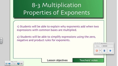 Thumbnail for entry 8-3 Multiplication Properties of Exponents