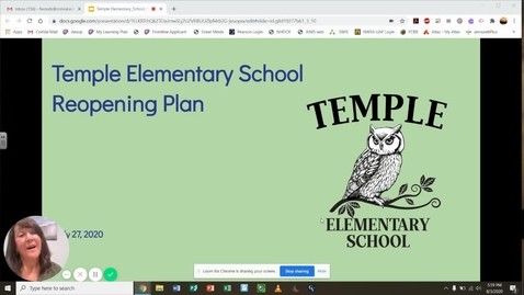 Thumbnail for entry Temple Elementary School - Fall 2020 Return To School