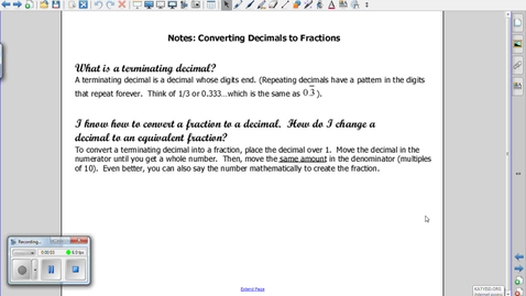 Thumbnail for entry Converting Decimals to Fractions