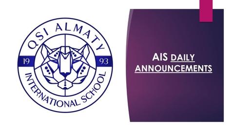Thumbnail for entry QSI AIS Monday, June 15 announcements