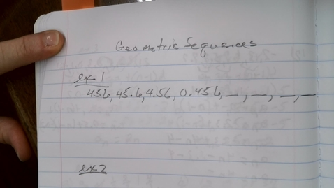 Thumbnail for entry Geometric Sequences
