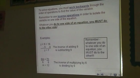 Thumbnail for entry Alg Lesson 3-2 and 3-3 Solving 1-step Equations Part 2