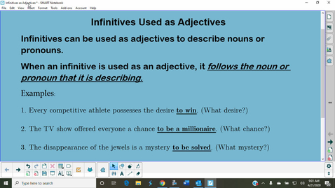 Thumbnail for entry Infinitives Used as Adjectives