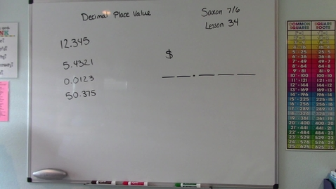 Thumbnail for entry Saxon 7/6 - Lesson 34 - Decimal Place Value
