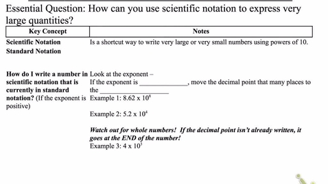 Thumbnail for entry 10.2 Scientific Notation Positive Powers of 10