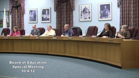 Thumbnail for entry Board of Education Special Meeting 10/4/12
