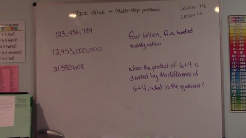 Thumbnail for entry Saxon 7/6 - Lesson 12 - Place Value & Multi-step Problems