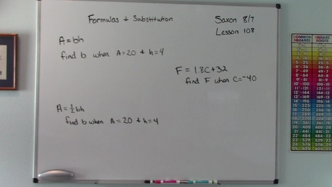 Thumbnail for entry Saxon 8/7 - Lesson 108 - Formulas and Substitution