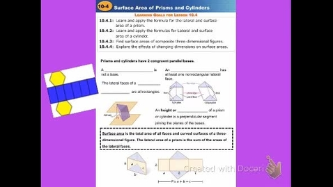 "Thumbnail for entry GeoB Lesson 10:4 ""Surface Area of Prisms & Cylinders"""