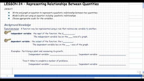 Thumbnail for entry Lesson 24 - Representing Relationships Between Quantities