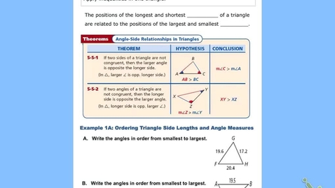 """Thumbnail for entry GeoA Lesson 5:5 """"Inequalities in One Triangle"""""""