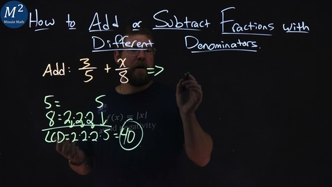 Thumbnail for entry How to Add or Subtract Fractions with Different Denominators | 3/5+x/8 | Part 6 of 6 | Minute Math