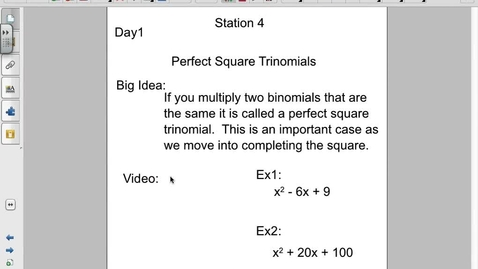 Thumbnail for entry Factoring Perfect Square Trinomials