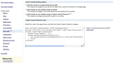 Thumbnail for entry Embedding Google Custom Search Bar