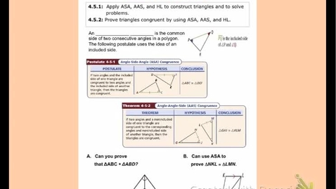 """Thumbnail for entry GeoA Lesson 4:5 """"Triangle Congruence - ASA, AAS & HL"""""""