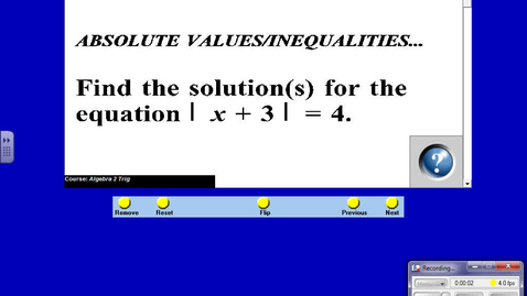 Thumbnail for entry ALG Nov 2 3 - 17 Notes Solving Absolute Value Inequalities