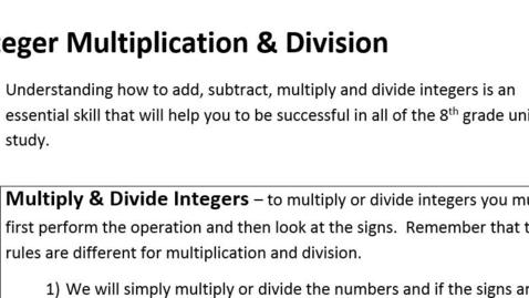 Thumbnail for entry 1-3 Integer Multiplication & Division