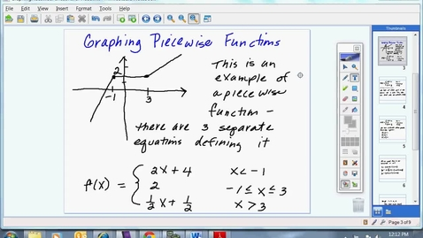 Thumbnail for entry Graphing Piecewise Functions