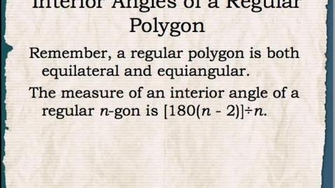Thumbnail for entry Math1: Interior Angles of a Regular Polgon