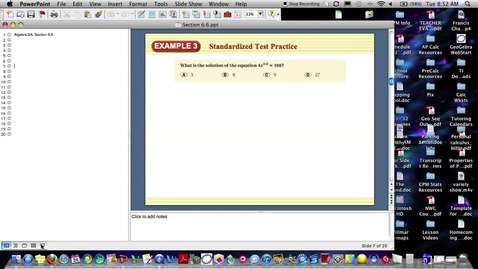 Thumbnail for entry Algebra 2A Section 6.6 (PART 2)