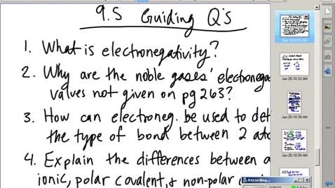 Thumbnail for entry Stephens Pre-AP Chemistry: Electronegativity and Polarity