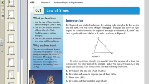 Thumbnail for entry 6.1 Law of Sines.avi