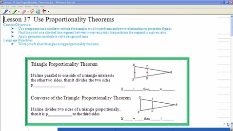 Thumbnail for entry Lesson 37 Using Proportionality Theorems